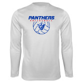 Performance White Longsleeve Shirt-Panthers Volleyball w/ Ball