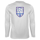 Performance White Longsleeve Shirt-Soccer Shield w/ Panther Head