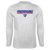 Performance White Longsleeve Shirt-#PantherFamily