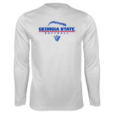 Performance White Longsleeve Shirt-Georgia State Softball Stacked