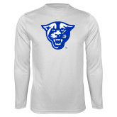 Performance White Longsleeve Shirt-Panther Head