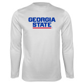 Performance White Longsleeve Shirt-Georgia State Wordmark