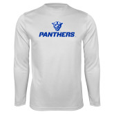 Performance White Longsleeve Shirt-Panthers w/ Panther Head