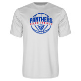 Performance White Tee-Panthers Basketball Arched w/ Ball