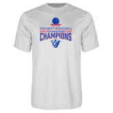 Performance White Tee-2018 Mens Sun Belt Champions
