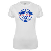 Ladies Syntrel Performance White Tee-Panthers Basketball Arched w/ Ball