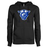 ENZA Ladies Black Fleece Full Zip Hoodie-Panther Head
