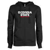 ENZA Ladies Black Fleece Full Zip Hoodie-Georgia State Wordmark