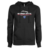 ENZA Ladies Black Fleece Full Zip Hoodie-Georgia State Softball Stacked