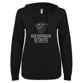 ENZA Ladies Black V Notch Raw Edge Fleece Hoodie-Official Logo Graphite Glitter
