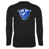 Performance Black Longsleeve Shirt-Panther Head