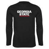 Performance Black Longsleeve Shirt-Georgia State Wordmark