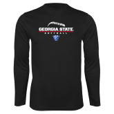Performance Black Longsleeve Shirt-Georgia State Softball Stacked