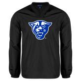 V Neck Black Raglan Windshirt-Panther Head