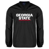 V Neck Black Raglan Windshirt-Georgia State Wordmark