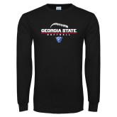 Black Long Sleeve TShirt-Georgia State Softball Stacked