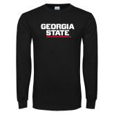 Black Long Sleeve TShirt-Georgia State Wordmark