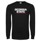 Black Long Sleeve TShirt-Georgia State Wordmark