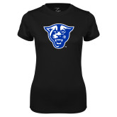 Ladies Syntrel Performance Black Tee-Panther Head