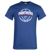 Royal T Shirt-Panthers Basketball Arched w/ Ball