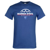 Royal T Shirt-Georgia State Soccer Stacked