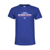 Youth Royal Blue T Shirt-Georgia State Basketball Stacked