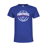 Youth Royal T Shirt-Panthers Basketball Arched w/ Ball