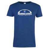 Ladies Royal T Shirt-Georgia State Football Flat