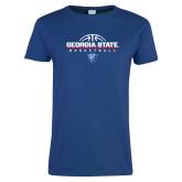 Ladies Royal T Shirt-Georgia State Basketball Stacked