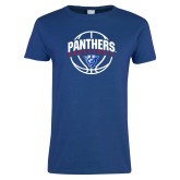 Ladies Royal T Shirt-Panthers Basketball Arched w/ Ball