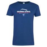 Ladies Royal T Shirt-Georgia State Softball Stacked