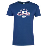 Ladies Royal T Shirt-2018 Georgia State Mens Soccer Champions