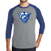 Grey/Royal Heather Tri Blend Baseball Raglan-Panther Head