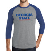 Grey/Royal Heather Tri Blend Baseball Raglan-Georgia State Wordmark