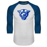 White/Royal Raglan Baseball T Shirt-Panther Head