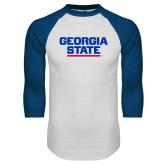 White/Royal Raglan Baseball T Shirt-Georgia State Wordmark
