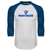 White/Royal Raglan Baseball T Shirt-Panthers w/ Panther Head