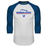 White/Royal Raglan Baseball T Shirt-Georgia State Baseball Stacked