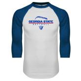 White/Royal Raglan Baseball T Shirt-Georgia State Softball Stacked