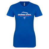 Next Level Ladies SoftStyle Junior Fitted Royal Tee-Georgia State Softball Stacked