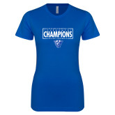 Next Level Ladies SoftStyle Junior Fitted Royal Tee-2018 Mens Basketball Tournament Champions