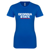 Next Level Ladies SoftStyle Junior Fitted Royal Tee-Georgia State Wordmark