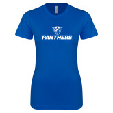 Next Level Ladies SoftStyle Junior Fitted Royal Tee-Panthers w/ Panther Head