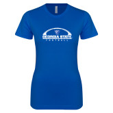 Next Level Ladies SoftStyle Junior Fitted Royal Tee-Georgia State Football Flat