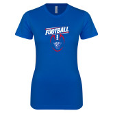 Next Level Ladies SoftStyle Junior Fitted Royal Tee-Panther Head w/ Football