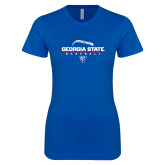 Next Level Ladies SoftStyle Junior Fitted Royal Tee-Georgia State Baseball Stacked