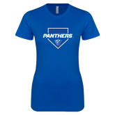 Next Level Ladies SoftStyle Junior Fitted Royal Tee-Panthers Baseball w/ Plate