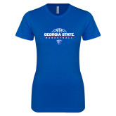 Next Level Ladies SoftStyle Junior Fitted Royal Tee-Georgia State Basketball Stacked