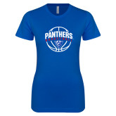 Next Level Ladies SoftStyle Junior Fitted Royal Tee-Panthers Basketball Arched w/ Ball