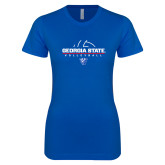 Next Level Ladies SoftStyle Junior Fitted Royal Tee-Georgia State Volleyball Stacked
